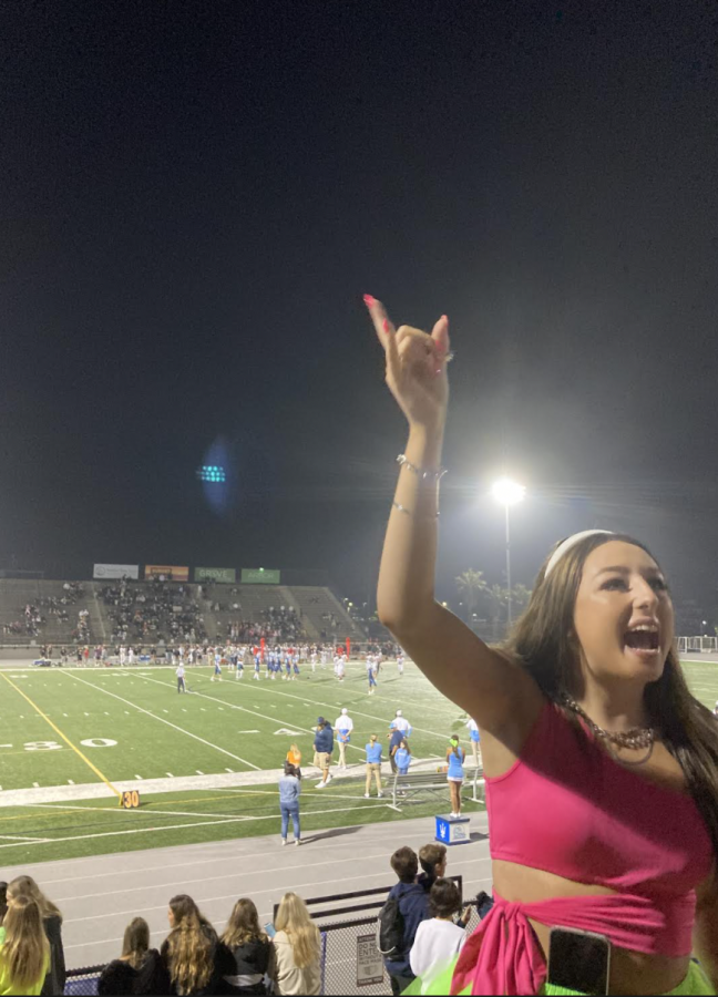 Brooke Barstow getting the crowd rallied up during the game.